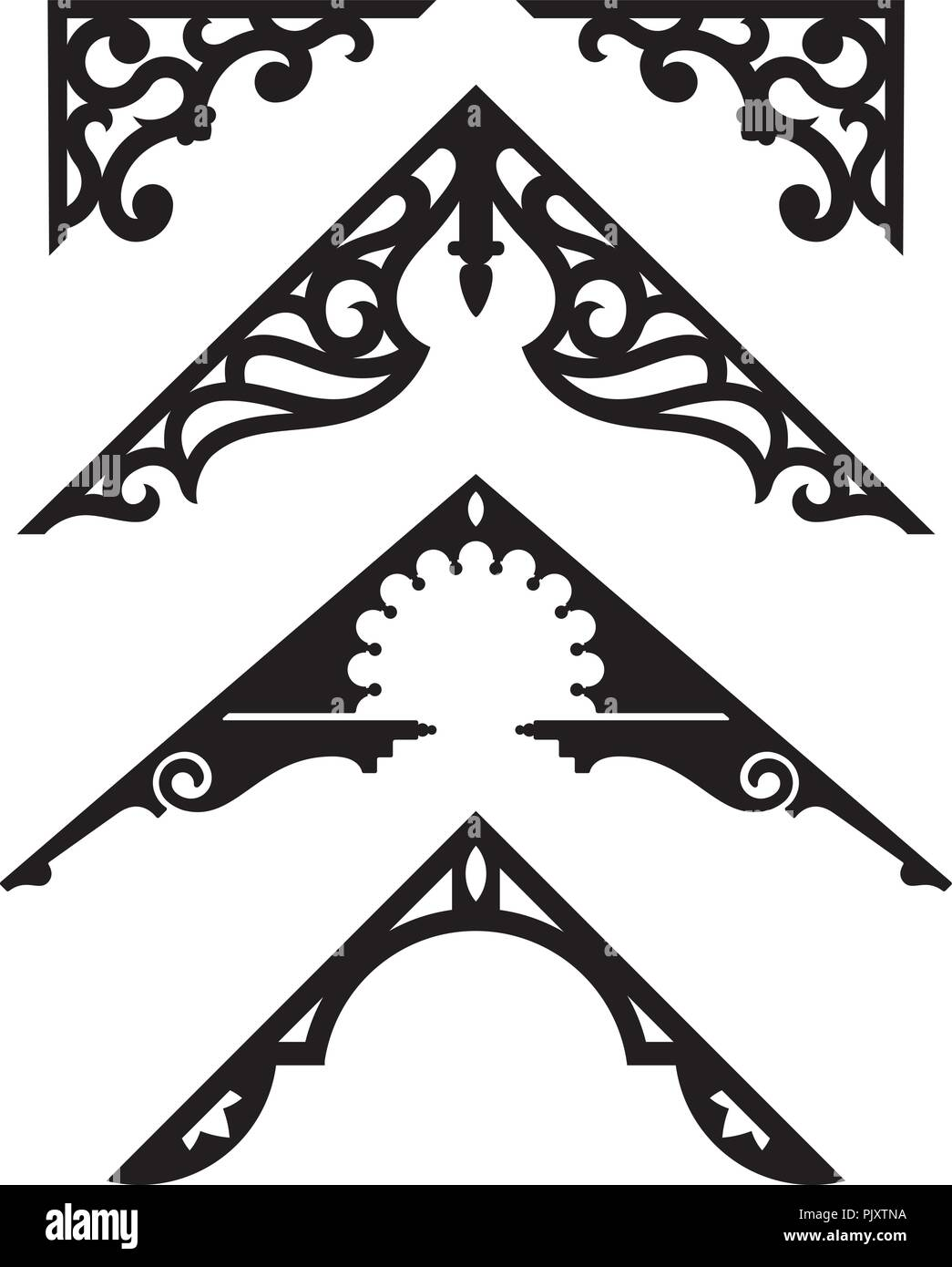 Set of Victorian Gingerbread Architectural Trim Illustrations. Silhouette vector illustrations of vintage design details from classic Victorian houses - Stock Vector