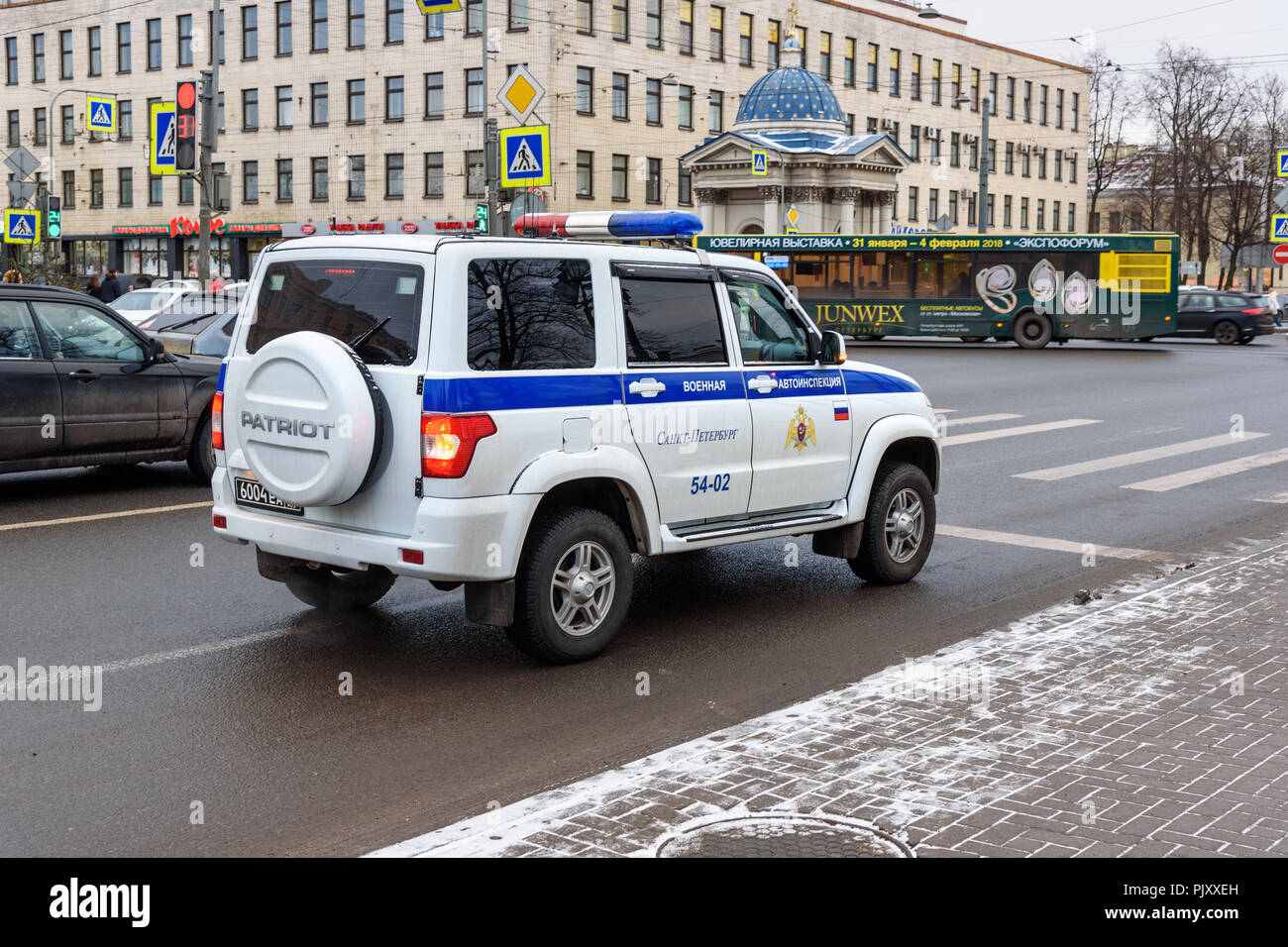 Saint Petersburg, Russia - January 11, 2018: Military traffic police car on the street in the city - Stock Image