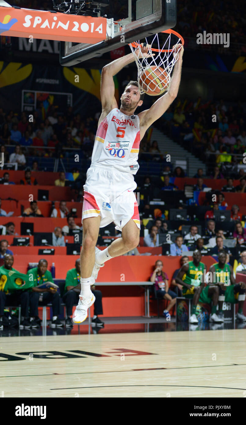 Rudy Fernandez dunking. Spain Basketball National Team, World Cup 2014 - Stock Image