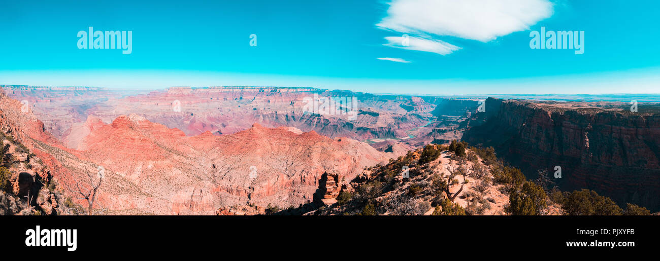 Stuning panormic view over and in to the grand canyon - Stock Image