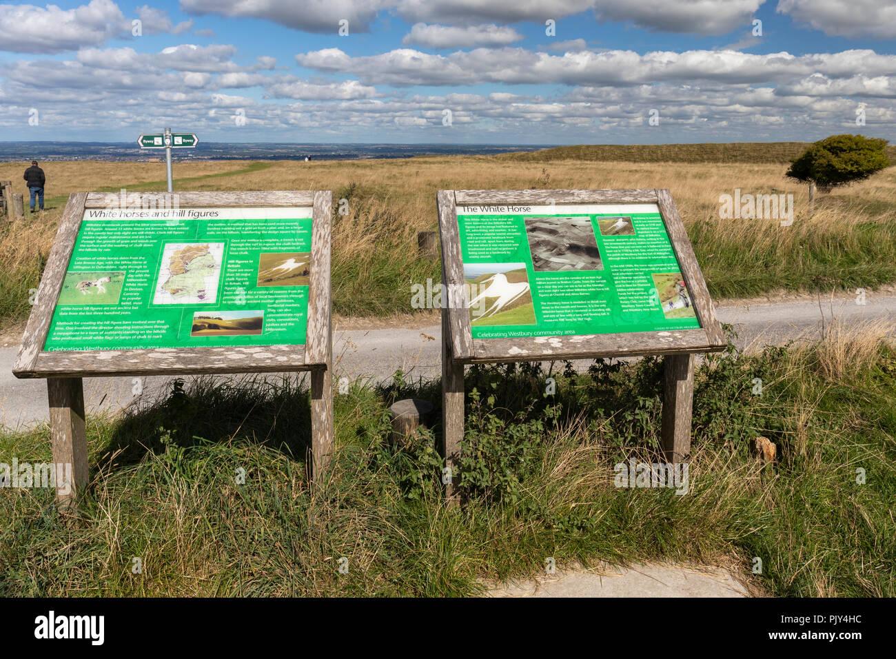 Interpretation boards at Westbury White Horse, Westbury, Wiltshire, England, UK Stock Photo