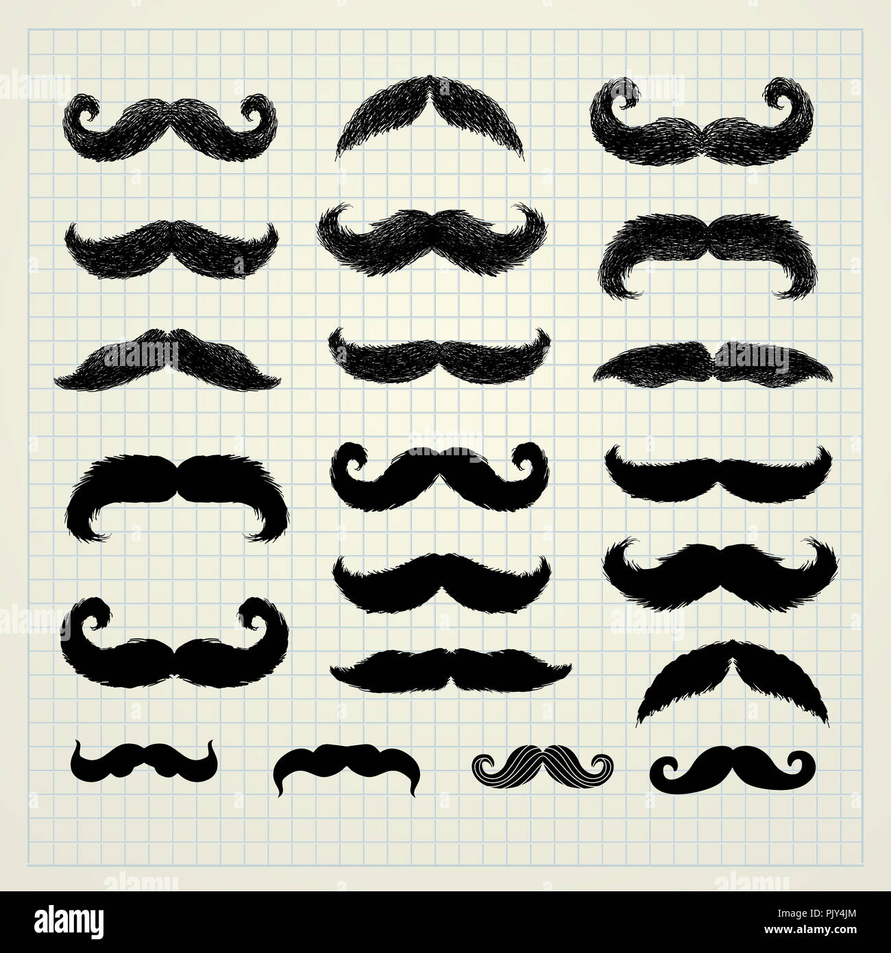 Moustache or mustache. Movember vector icons set - Stock Image