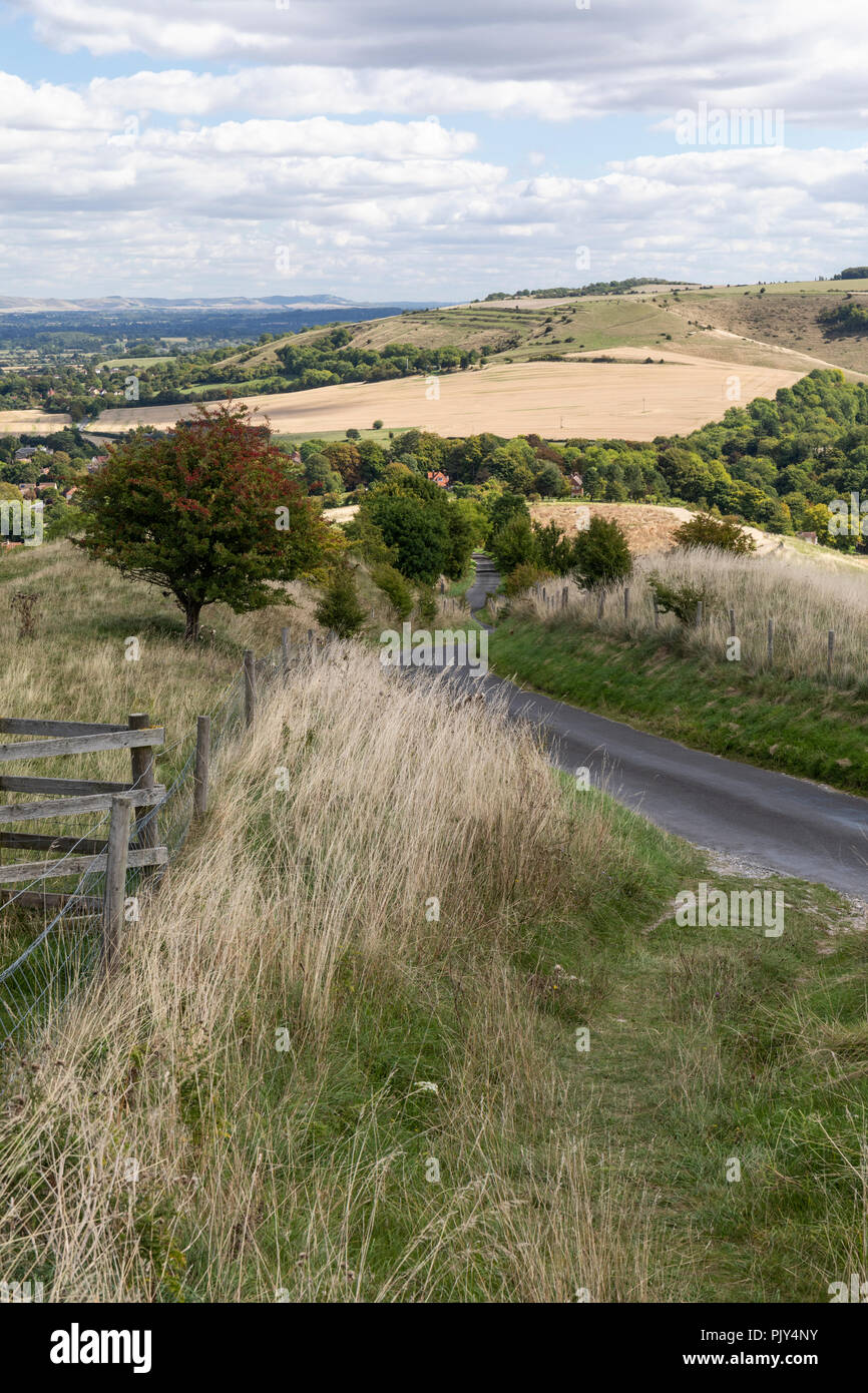 View of Wiltshire Countryside from the top of Westbury White Horse, Westbury, Wiltshire, UK Stock Photo