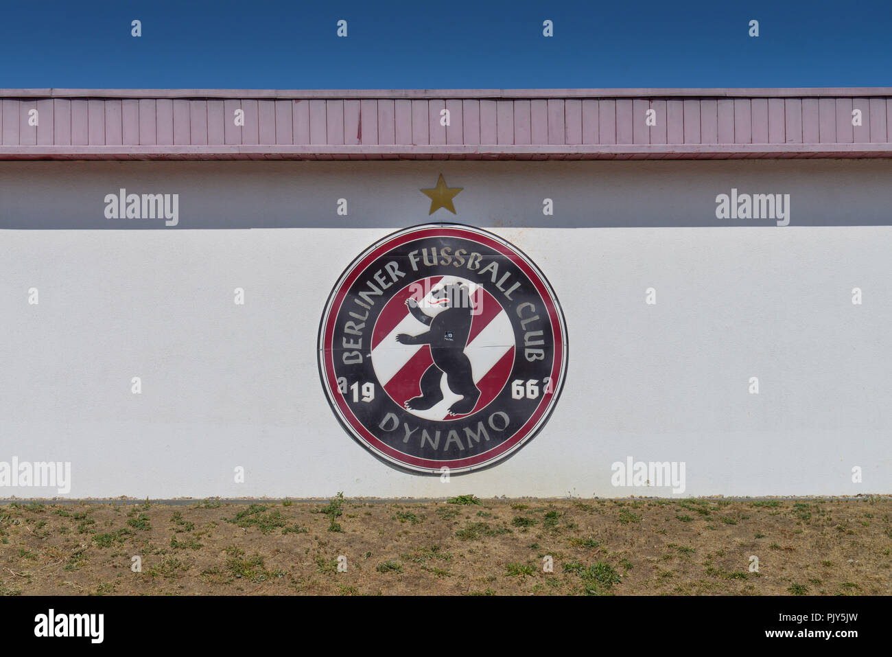 Rostrum, football stadium BFC generator, sports forum Berlin, Weissenseer way, Hohenschoenhausen, bright mountain, Berlin, Germany, Tribuene, Fussball - Stock Image