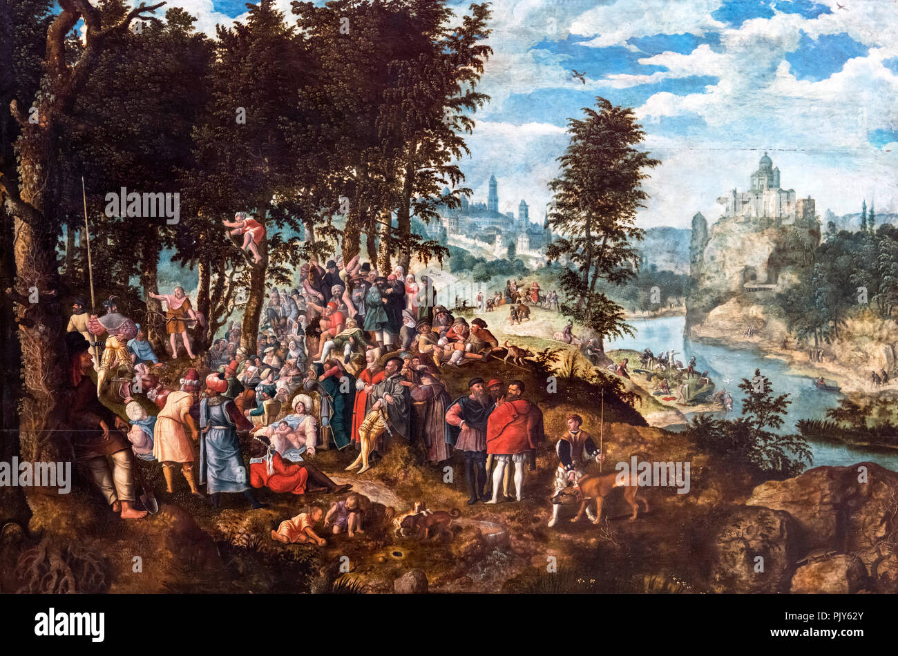 John the Baptist Preaching by Pieter Brueghel the Younger (1564-1638) - Stock Image