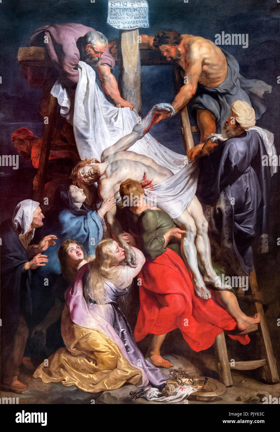 Descent from the Cross by Sir Peter Paul Rubens (c.1577-1640), oil on canvas, 1616/17 - Stock Image