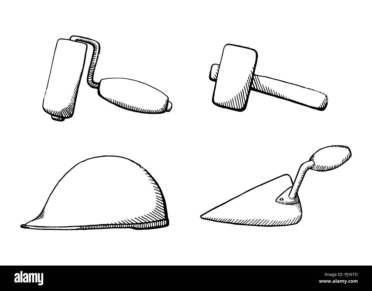 A set of construction tools  Black and white design vector
