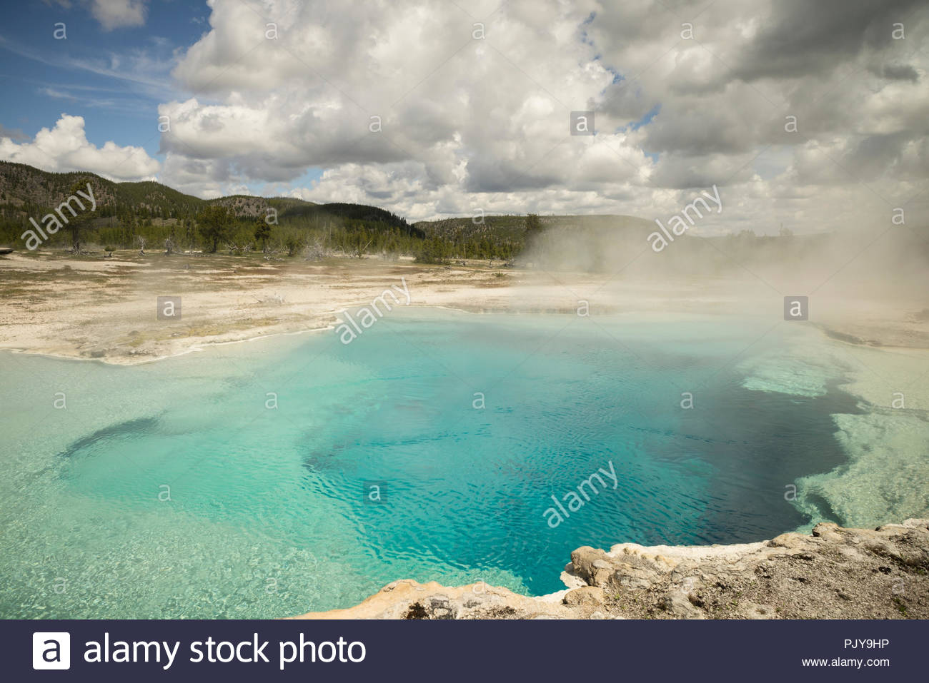 Sapphire Pool at Biscuit Basin, Yellowstone National Park, Wyoming - Stock Image