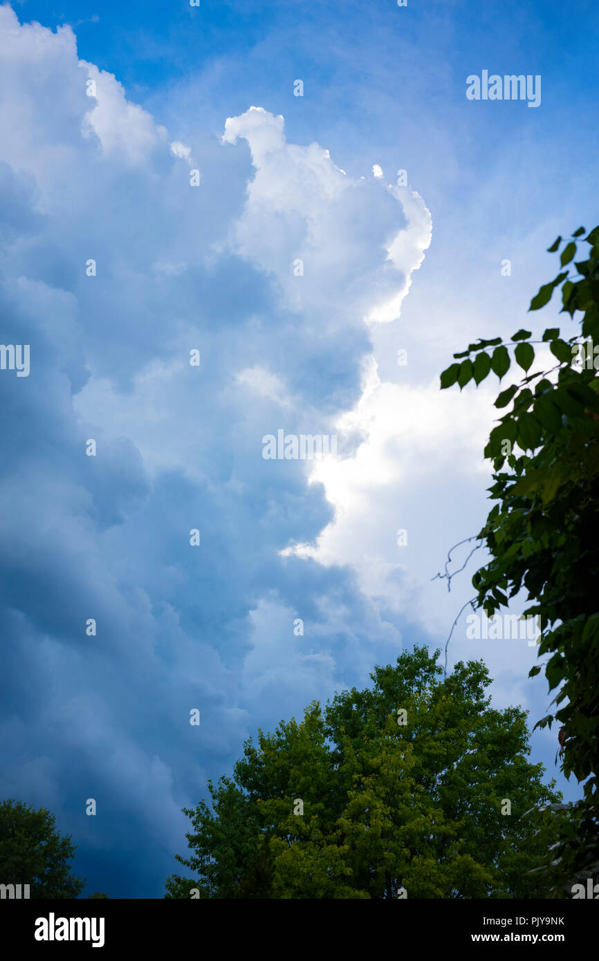 Storm clouds rolling in over Vestal, NY, Monday, September 3, 2018. - Stock Image