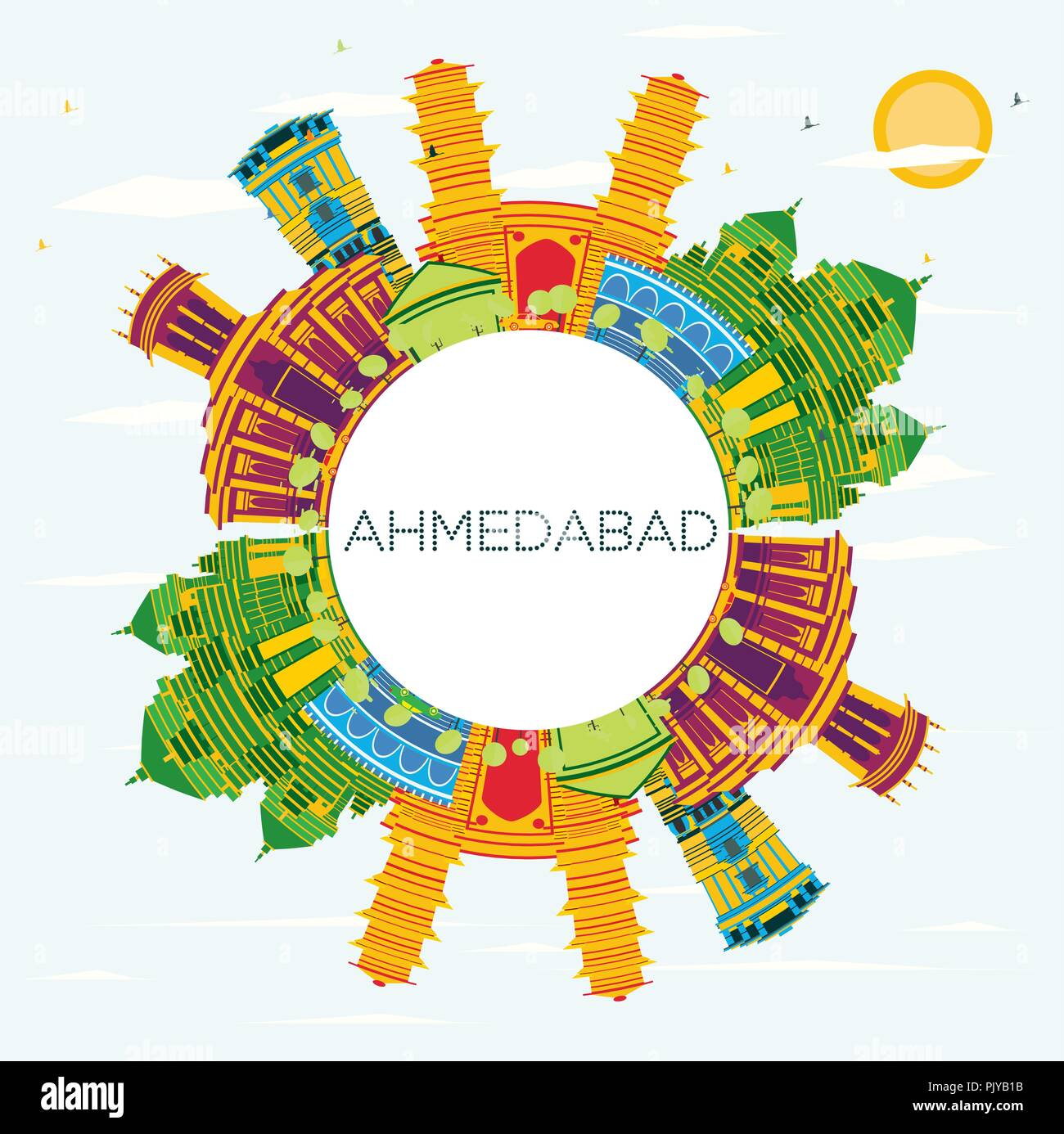 Ahmedabad India City Skyline with Color Buildings, Blue Sky and Copy Space. Vector Illustration. - Stock Vector