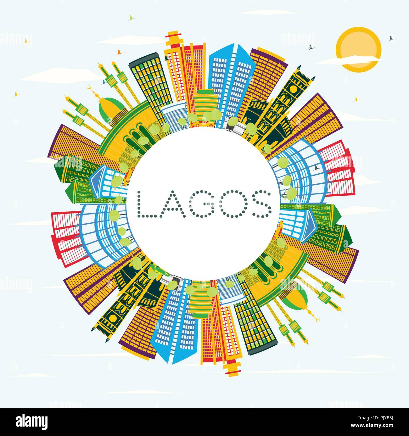 Lagos Nigeria City Skyline with Color Buildings, Blue Sky and Copy Space. Vector Illustration. - Stock Vector