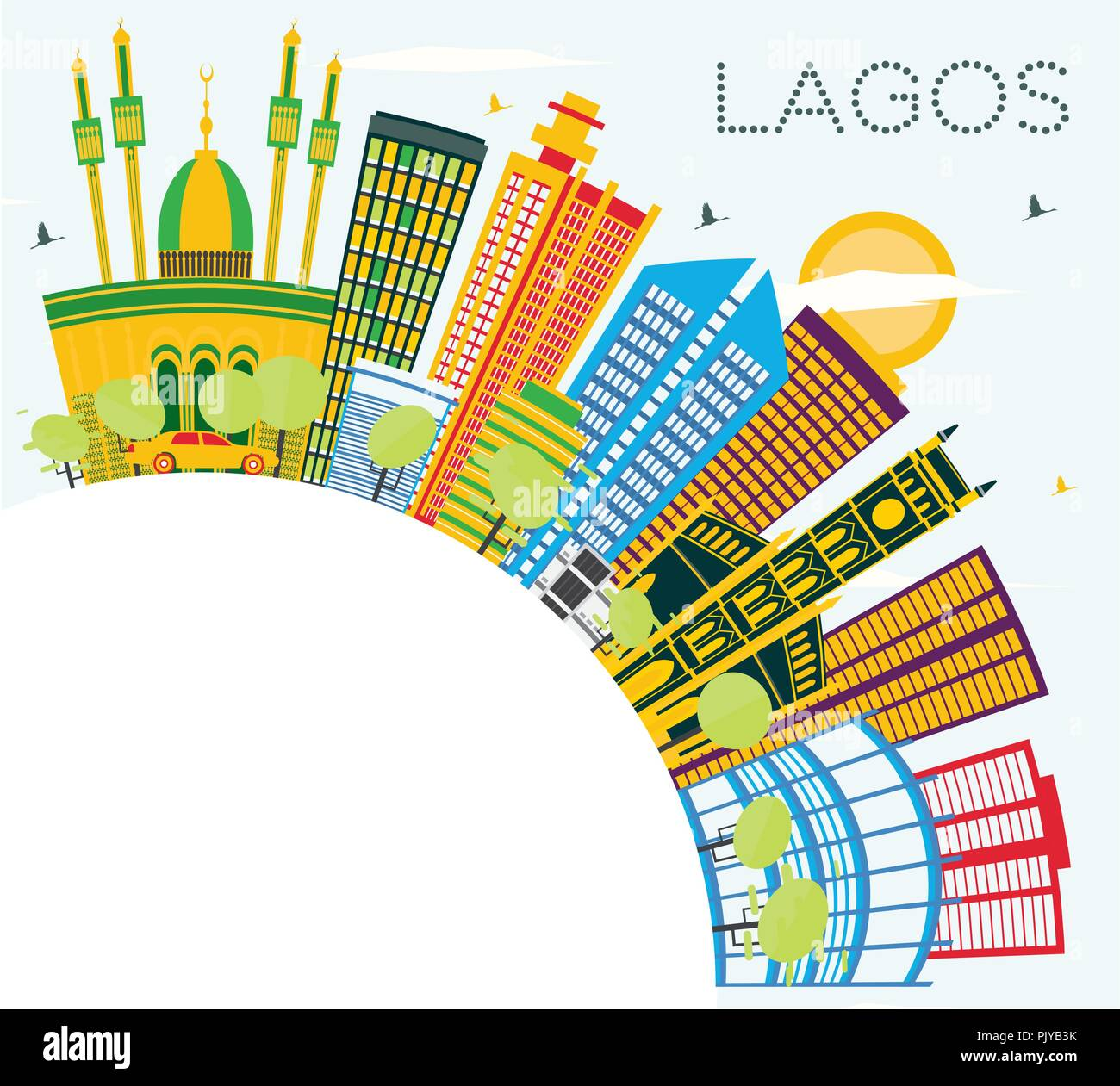 Lagos Nigeria City Skyline with Color Buildings, Blue Sky and Copy Space. Vector Illustration. - Stock Image