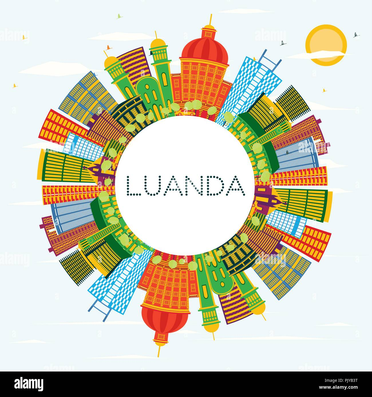 Luanda Angola City Skyline with Color Buildings, Blue Sky and Copy Space. Vector Illustration. - Stock Image