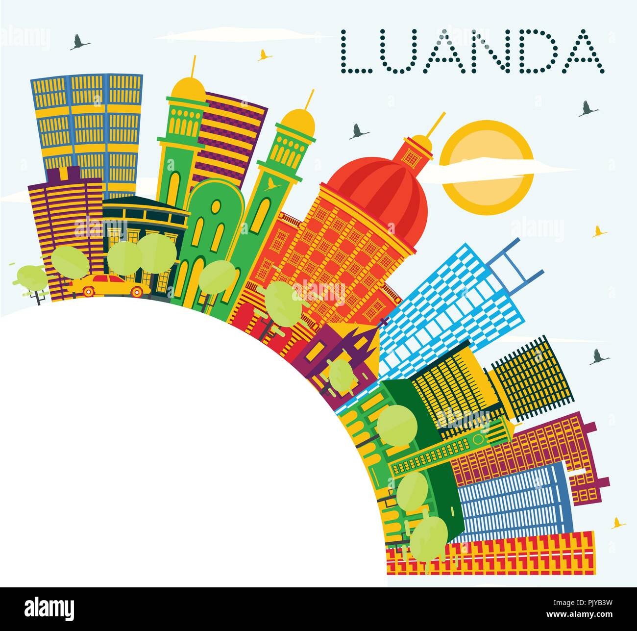 Luanda Angola City Skyline with Color Buildings, Blue Sky and Copy Space. Vector Illustration. - Stock Vector