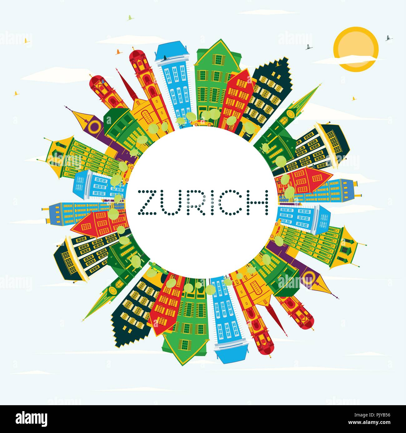 Zurich Switzerland City Skyline with Color Buildings, Blue Sky and Copy Space. Vector Illustration. - Stock Vector
