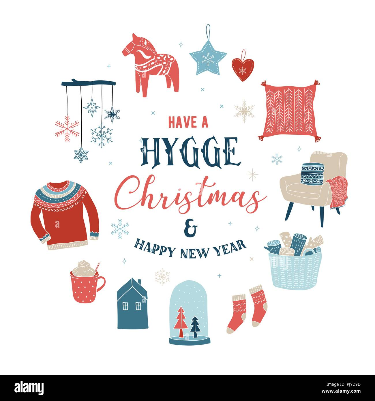 Hygge winter elements and concept design, Merry Christmas card, banner, background - Stock Image