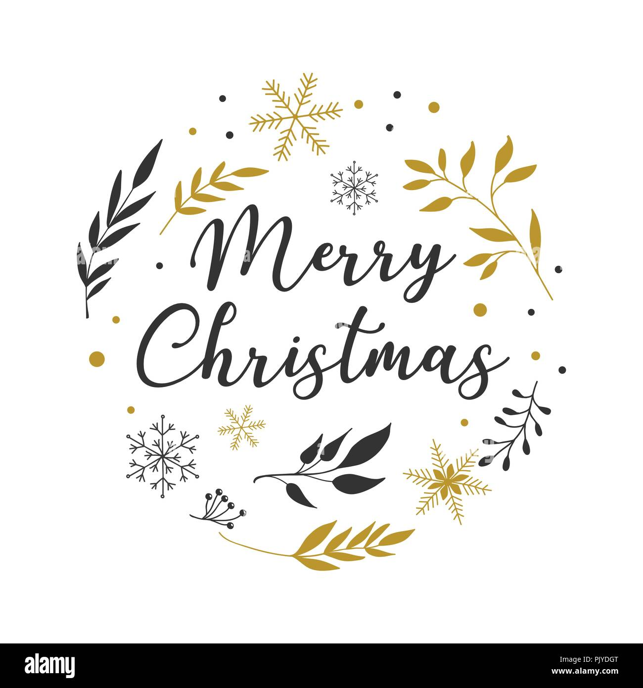 Merry Christmas Background with Typography, Lettering. Minimalistic simple greeting card - Stock Image