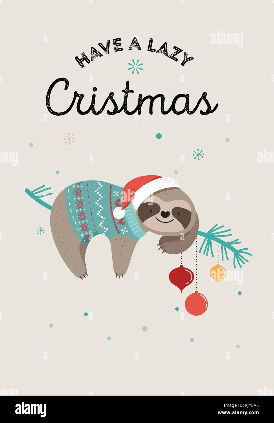 Cute sloths funny christmas illustrations with santa claus costumes cute sloths funny christmas illustrations with santa claus costumes hat and scarfs greeting cards set banner m4hsunfo