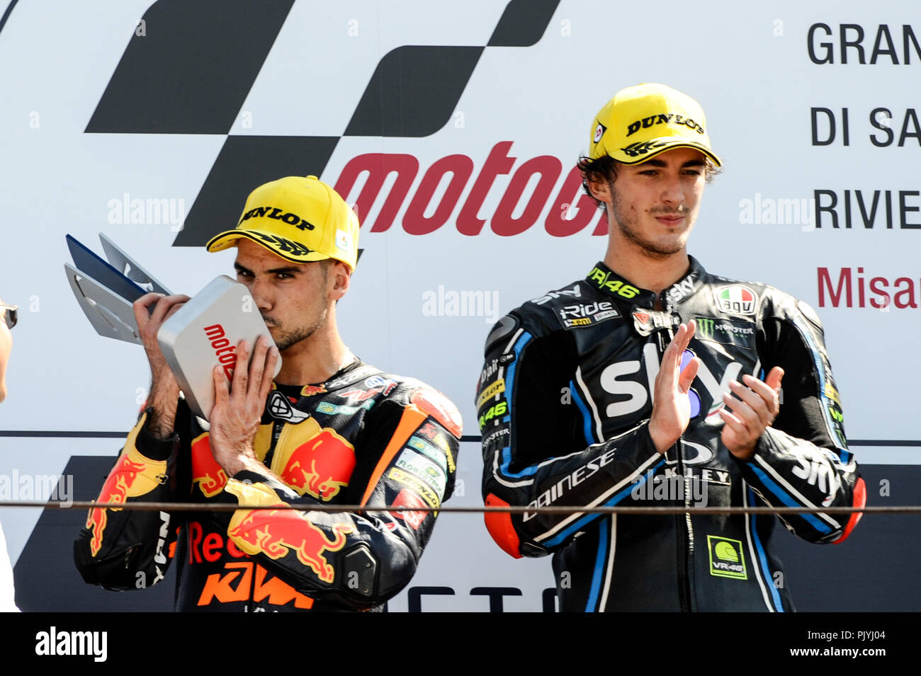 Misano, Misano World Circuit, Italy. 9th Sep, 2018. Italian Motorcycle Grand Prix, race day; Moto 2 rider Miguel Olivera 2nd place on podium, and Francesco Bagnaia 1st place on podium Credit: Action Plus Sports/Alamy Live News - Stock Image