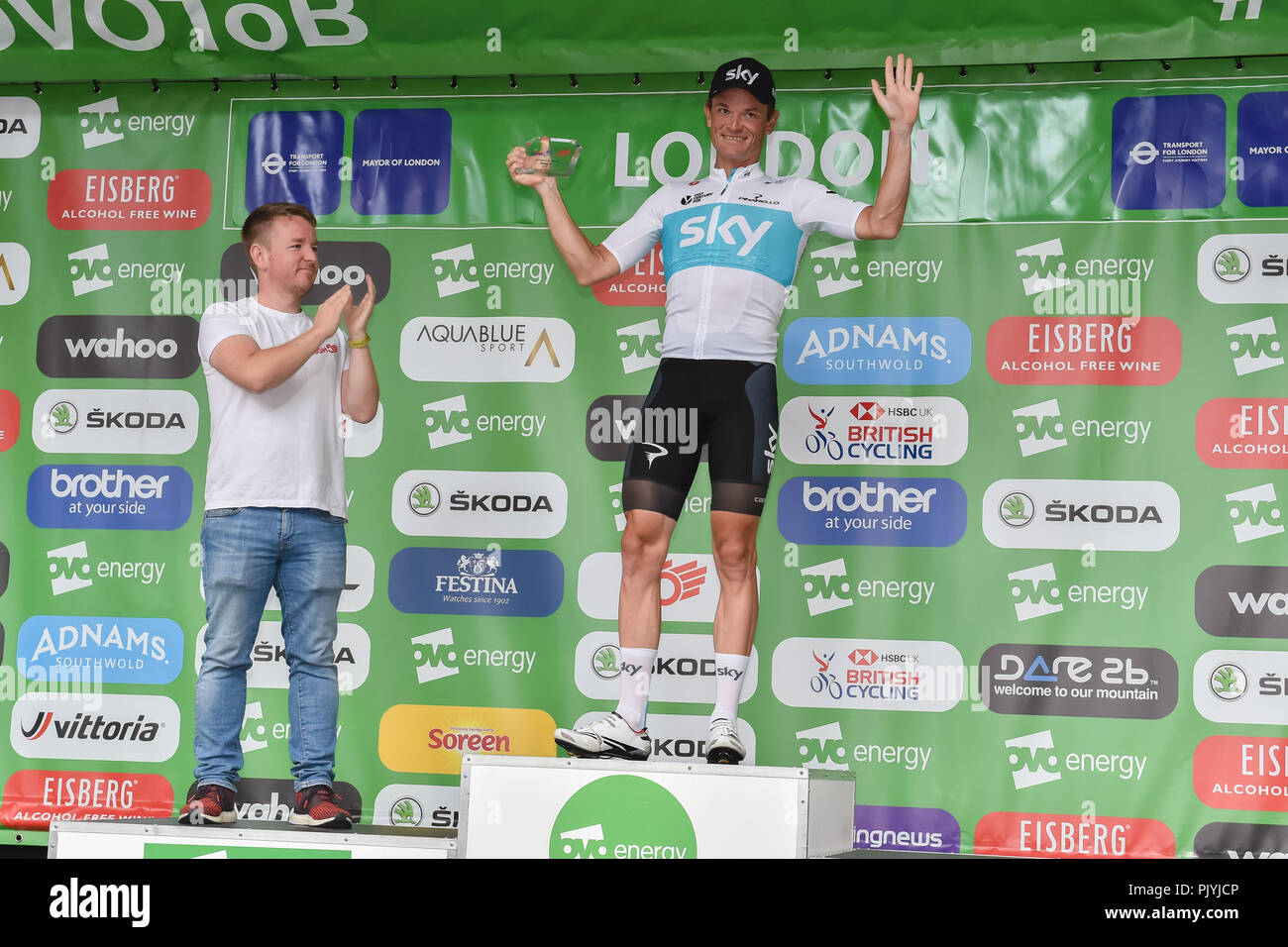 London, UK. 09th Sep, 2018. Vasil Kiryienka of Team Sky won the High5 Combativity Award for Stage 8 at Winner's Presentation during 2018 OVO Energy Tour of Britain - Stage Eight: The London Stage on Sunday, September 09, 2018, LONDON ENGLAND: Credit: Taka Wu/Alamy Live News - Stock Image