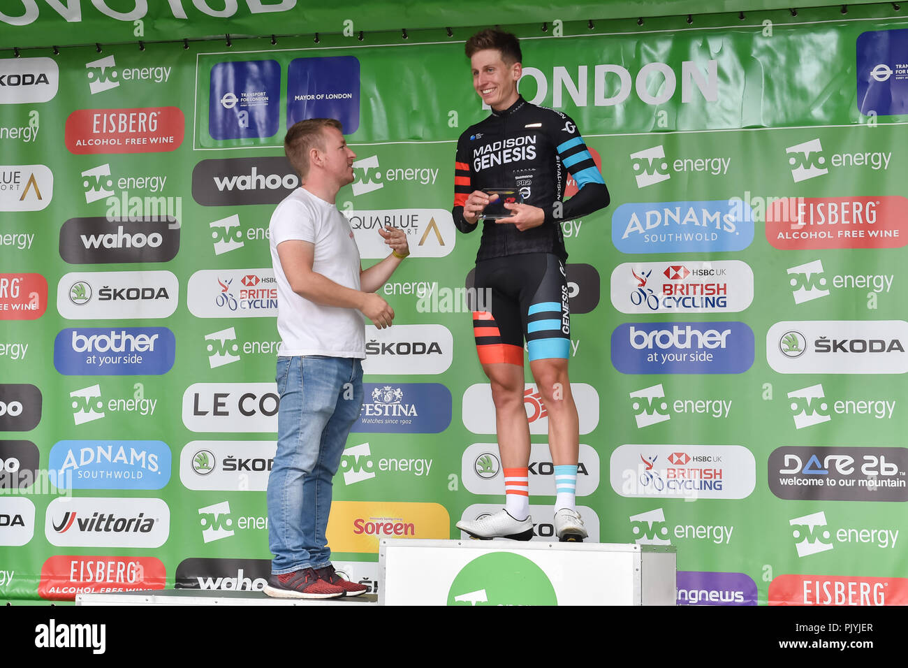 London, UK. 09th Sep, 2018. Matthew Holmes of Madison Genesis won the High5 Overall Combativity Award at Winner's Presentation during 2018 OVO Energy Tour of Britain - Stage Eight: The London Stage on Sunday, September 09, 2018, LONDON ENGLAND: Credit: Taka Wu/Alamy Live News - Stock Image