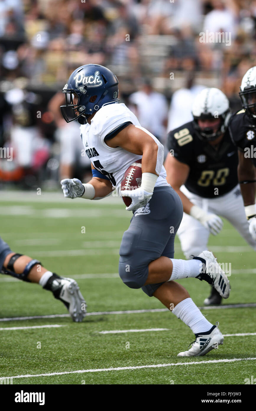 Nashville, USA. 08th Sep, 2018. Nevada running back Toa Taua (35) during the game between the Nevada Wolf Pack and the Vanderbilt Commodores at Vanderbilt Stadium in Nashville, USA. TN. Thomas McEwen/CSM/Alamy Live News - Stock Image