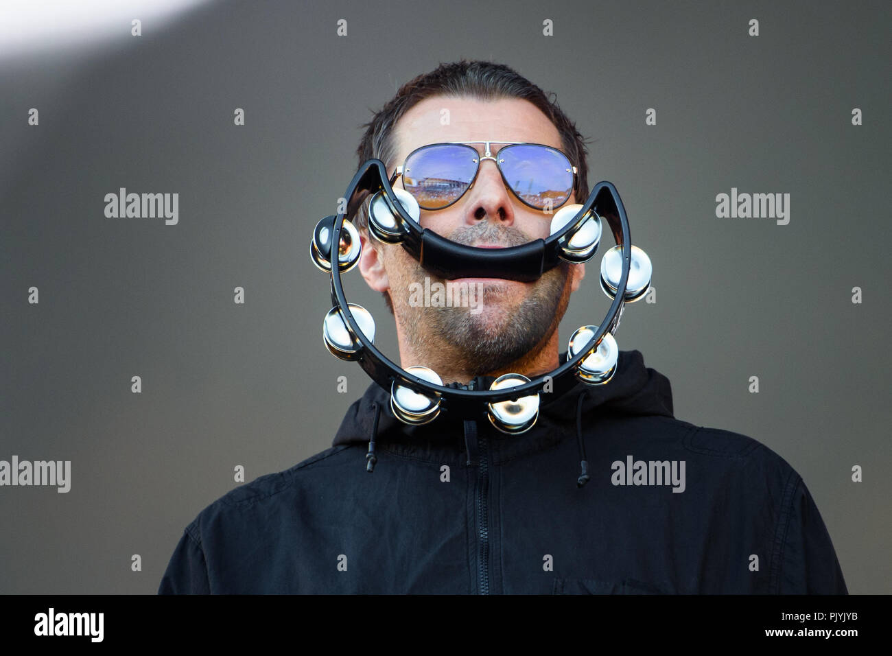 Berlin, Germany. 09th Sep, 2018. The singer and musician Liam Gallagher is on stage at the two-day music festival Lollapalooza on the grounds of the Olympic Park. Credit: Gregor Fischer/dpa/Alamy Live News - Stock Image