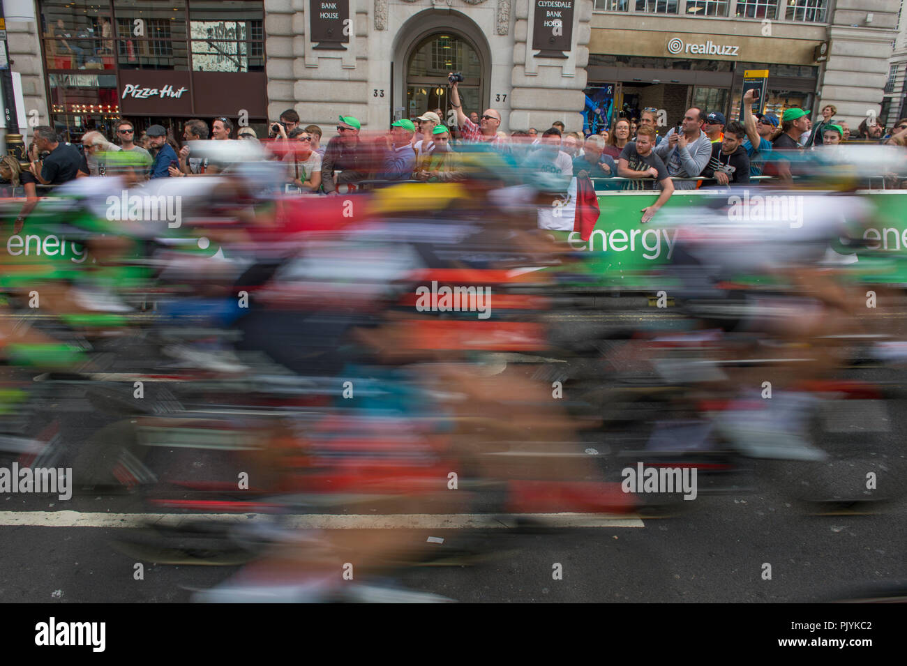 London, UK. 9 September, 2018. The OVO Energy Tour of Britain London Stage 8 concludes with a 14 lap circuit in central London on closed roads in front of large crowds and covering 77km at speeds of up to 80kph, starting and finishing on Regent Street St James's close to Piccadilly Circus. Credit: Malcolm Park/Alamy Live News. - Stock Image