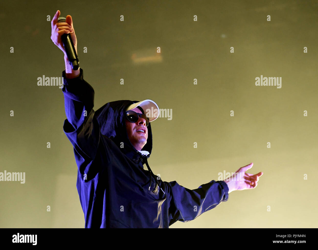 Berlin, Germany. 09th Sep, 2018. The musician Trettmann is on stage at the music festival Lollapalooza on the grounds of the Olympic Park. Credit: Britta Pedersen/dpa-Zentralbild/dpa/Alamy Live News - Stock Image