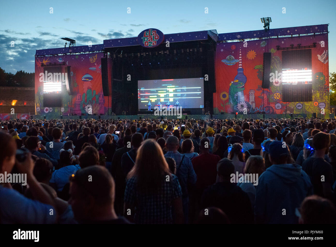 Berlin, Germany. 09th Sep, 2018. The members of the band Kraftwerk are on stage at the two-day music festival Lollapalooza on the grounds of the Olympic Park. Credit: Gregor Fischer/dpa/Alamy Live News - Stock Image