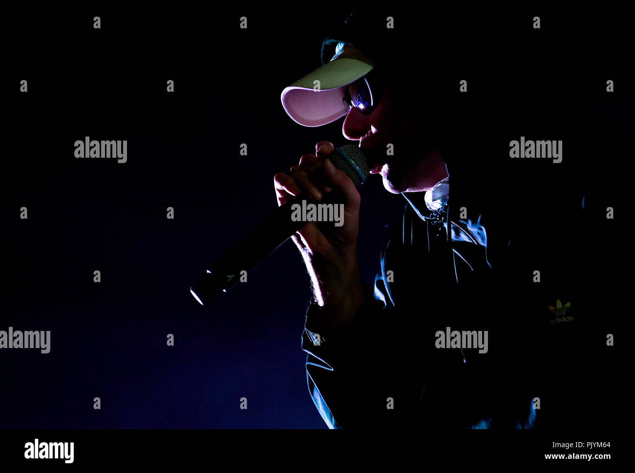 Berlin, Germany. 09th Sep, 2018. The musician Trettmann is on stage at the music festival Lollapalooza on the grounds of the Olympic Park. Credit: Britta Pedersen/dpa-Zentralbild/dpa/Alamy Live News Stock Photo
