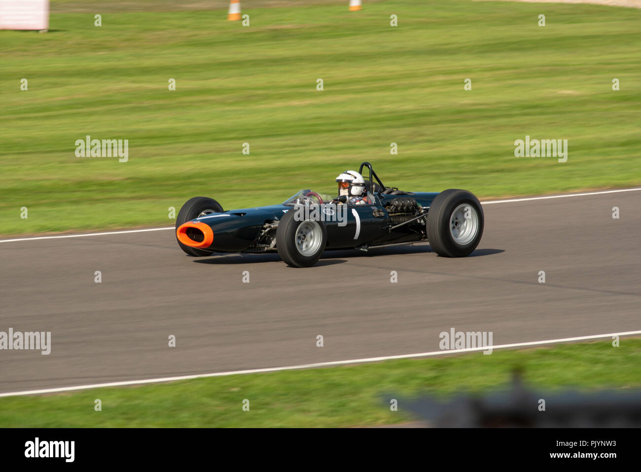 Goodwood, UK. 9th Sept 2018. Richard Attwood racing in the Glover Trophy at Goodwood Revival 2018 Credit: Mircea Albeanu/Alamy Live News - Stock Image