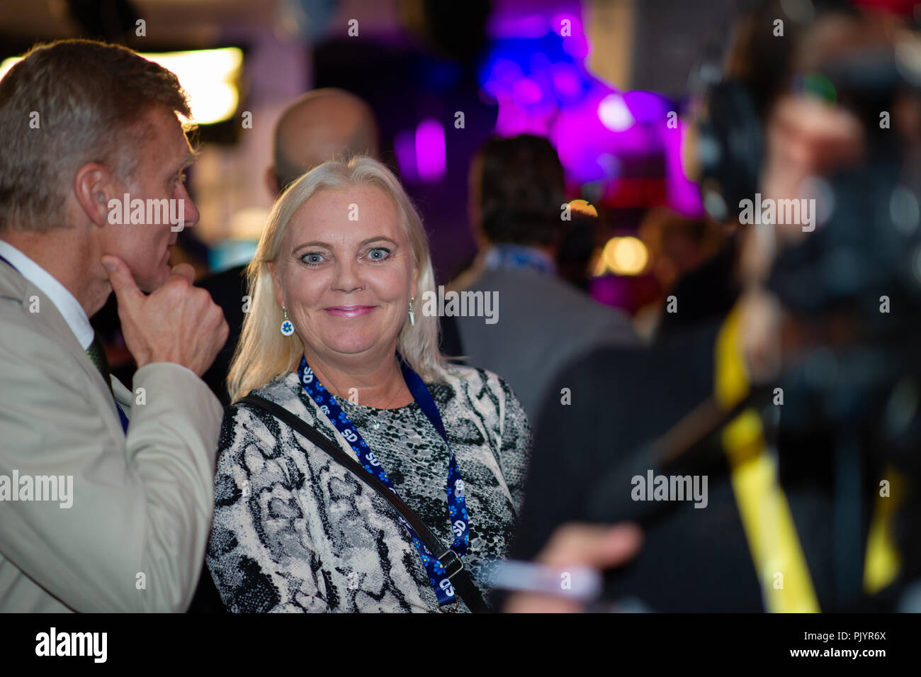 Stockholm, Sweden, September 9, 2018. Swedish General Election 2018.  Election Night Watch Party for Sweden Democrats (SD) in central Stockholm, Sweden. Kristina Winberg (SD). Credit: Barbro Bergfeldt/Alamy Live News Stock Photo