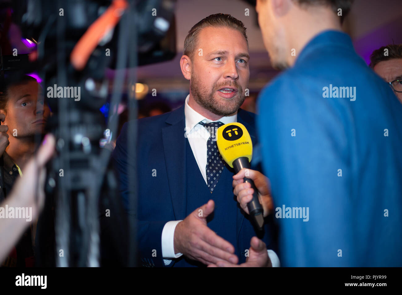 Stockholm, Sweden, September 9, 2018. Swedish General Election 2018.  Election Night Watch Party for Sweden Democrats (SD) in central Stockholm, Sweden. Mattias Karlsson (SD). Credit: Barbro Bergfeldt/Alamy Live News Stock Photo