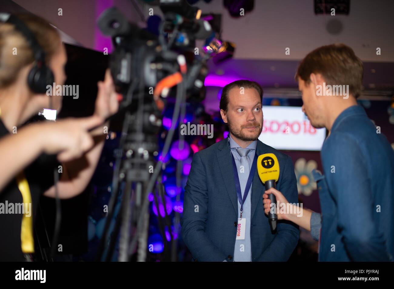 Stockholm, Sweden, September 9, 2018. Swedish General Election 2018.  Election Night Watch Party for Sweden Democrats (SD) in central Stockholm, Sweden. Martin Kinnunen (SD). Credit: Barbro Bergfeldt/Alamy Live News Stock Photo