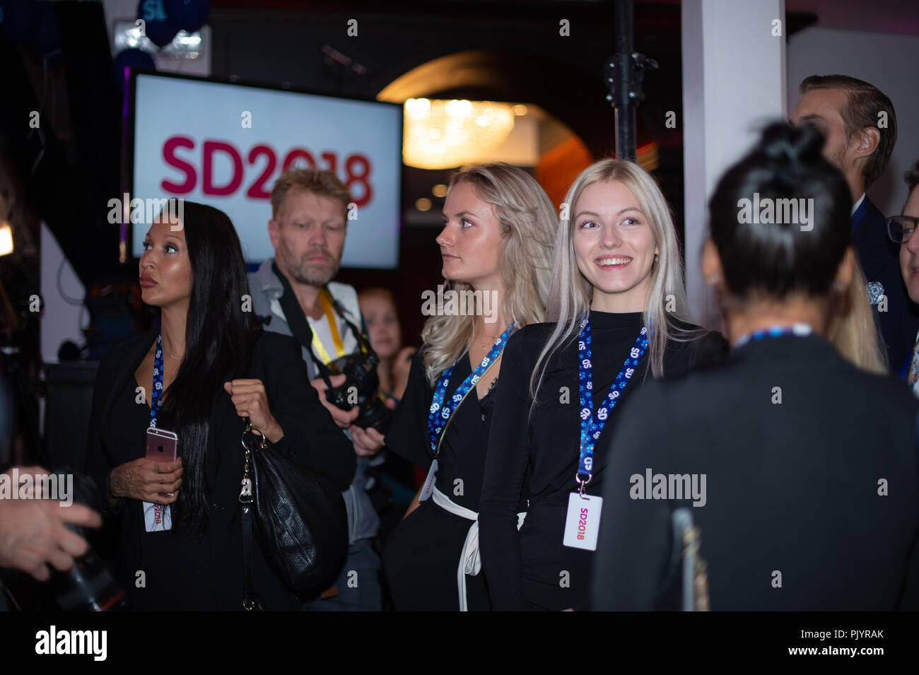 Stockholm, Sweden, September 9, 2018. Swedish General Election 2018.  Election Night Watch Party for Sweden Democrats (SD) in central Stockholm, Sweden. Credit: Barbro Bergfeldt/Alamy Live News Stock Photo
