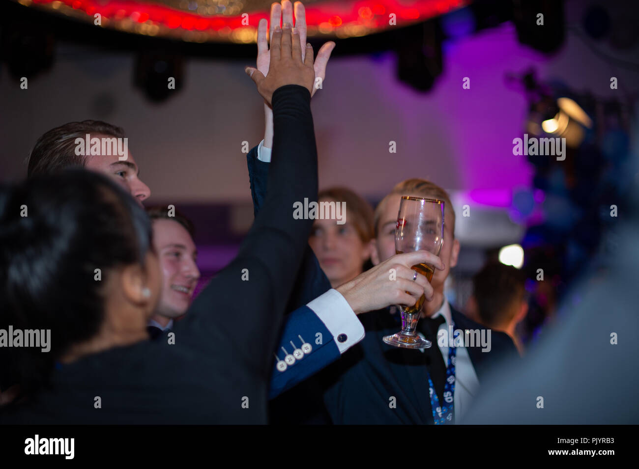 Stockholm, Sweden, September 9, 2018. Swedish General Election 2018.  Election Night Watch Party for Sweden Democrats (SD) in central Stockholm, Sweden. Credit: Barbro Bergfeldt/Alamy Live News Stock Photo