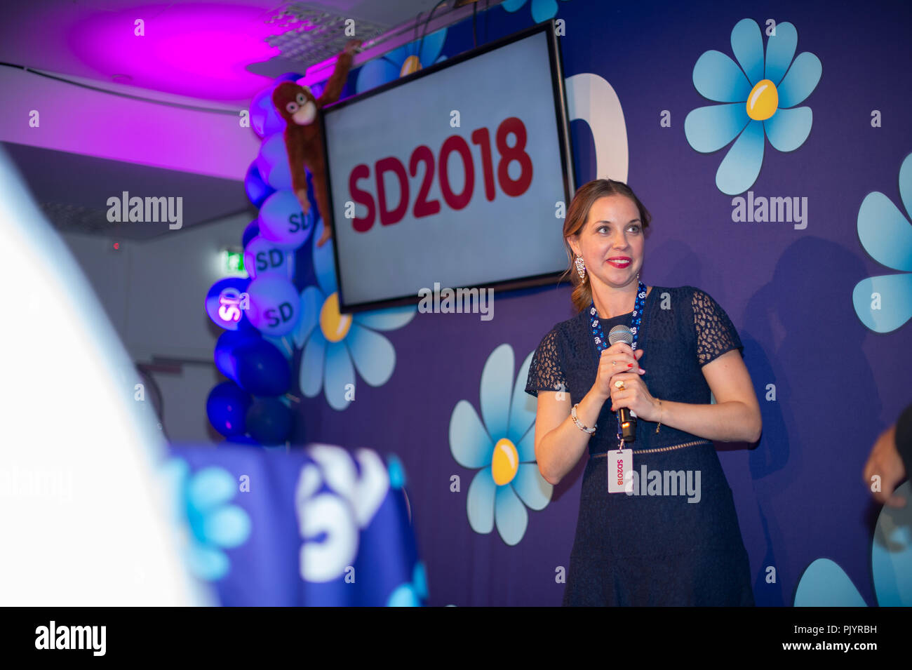 Stockholm, Sweden, September 9, 2018. Swedish General Election 2018.  Election Night Watch Party for Sweden Democrats (SD) in central Stockholm, Sweden. Angelika Bengtsson (SD). Credit: Barbro Bergfeldt/Alamy Live News Stock Photo