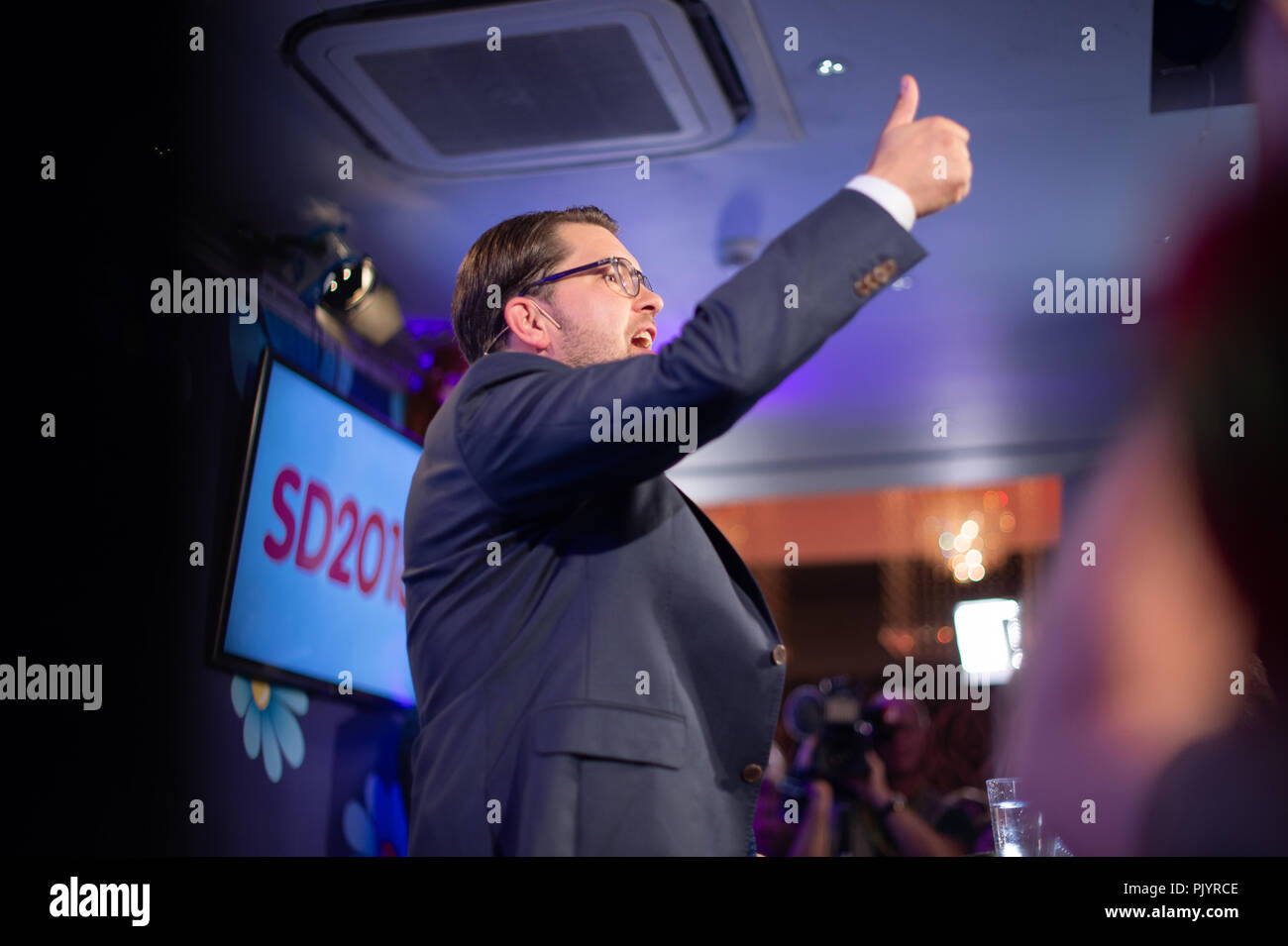 Stockholm, Sweden, September 9, 2018. Swedish General Election 2018.  Election Night Watch Party for Sweden Democrats (SD) in central  Stockholm, Sweden.Party Leader Jimmie Akesson (SD). Credit: Barbro Bergfeldt/Alamy Live News Stock Photo