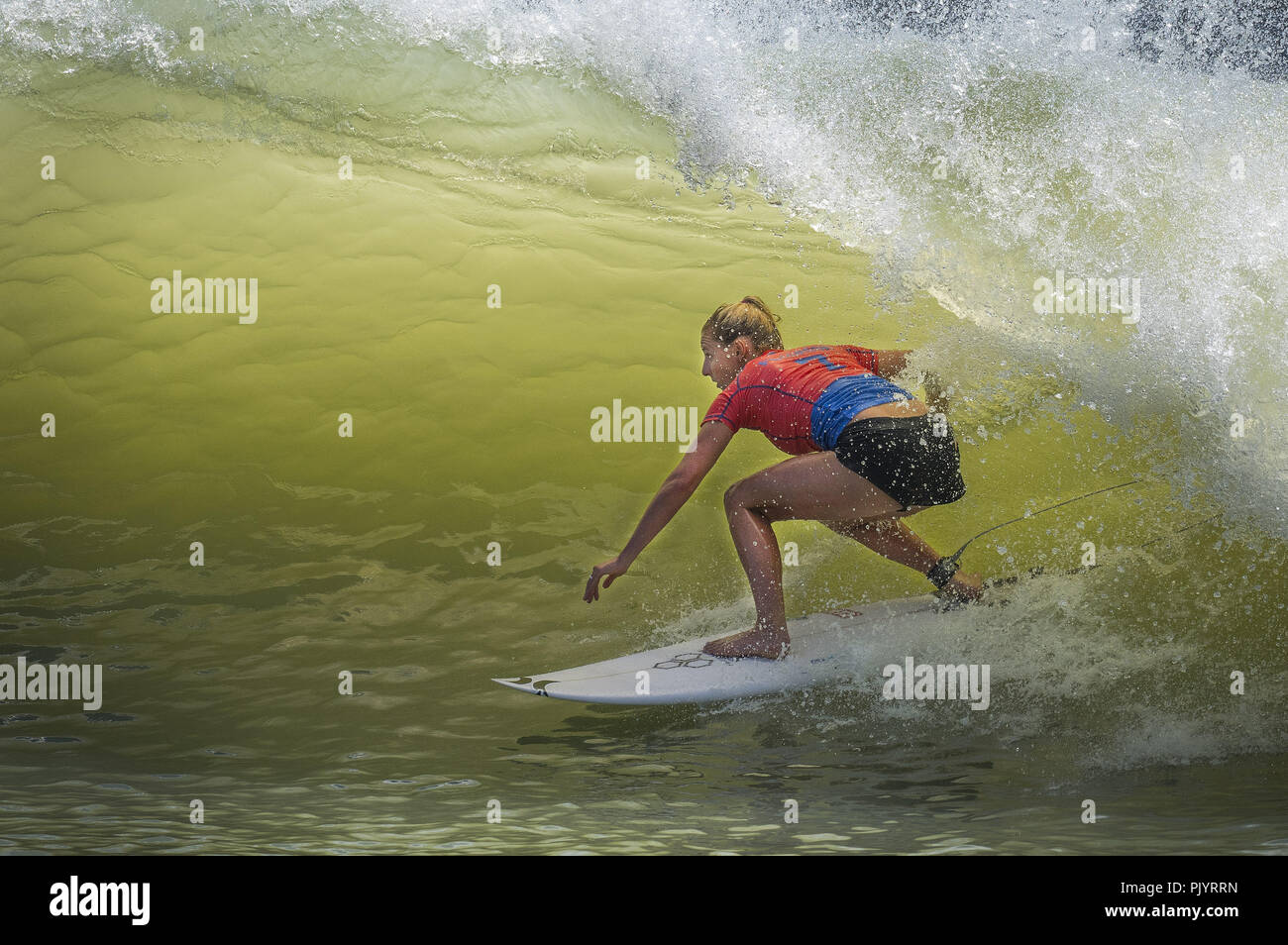 Lemoore, California, USA. 8th Sep, 2018. With combined heat total of 16.57 LAKEY PETERSON of California earned a third place finish at the inaugural World Surf League Surf Ranch Pro. Credit: Erick Madrid/ZUMA Wire/Alamy Live News - Stock Image