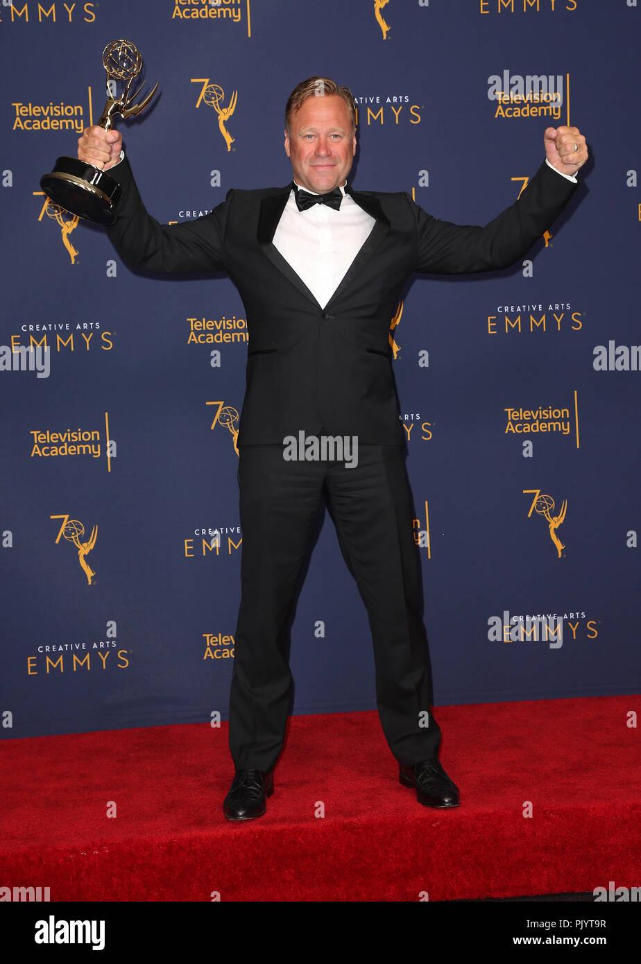 Los Angeles, CA, USA. 8th Sep, 2018. 08 September 2018 - Los Angeles, California - Rowley Irlam. 2018 Creative Arts Emmys Awards held at Microsoft Theater. Photo Credit: F. Sadou/AdMedia Credit: F. Sadou/AdMedia/ZUMA Wire/Alamy Live News - Stock Image