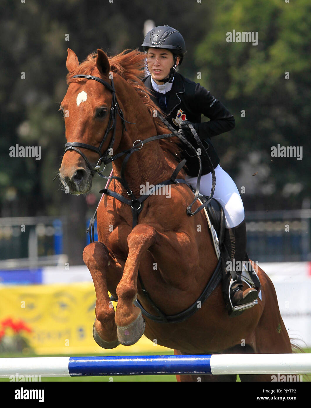 The French Emma Riff competes in the mixed relay equestrian jump event held in the framework of the Modern Pentathlon World Championship in Mexico City, Mexico, 09 September 2018. EFE/Mario Guzman - Stock Image