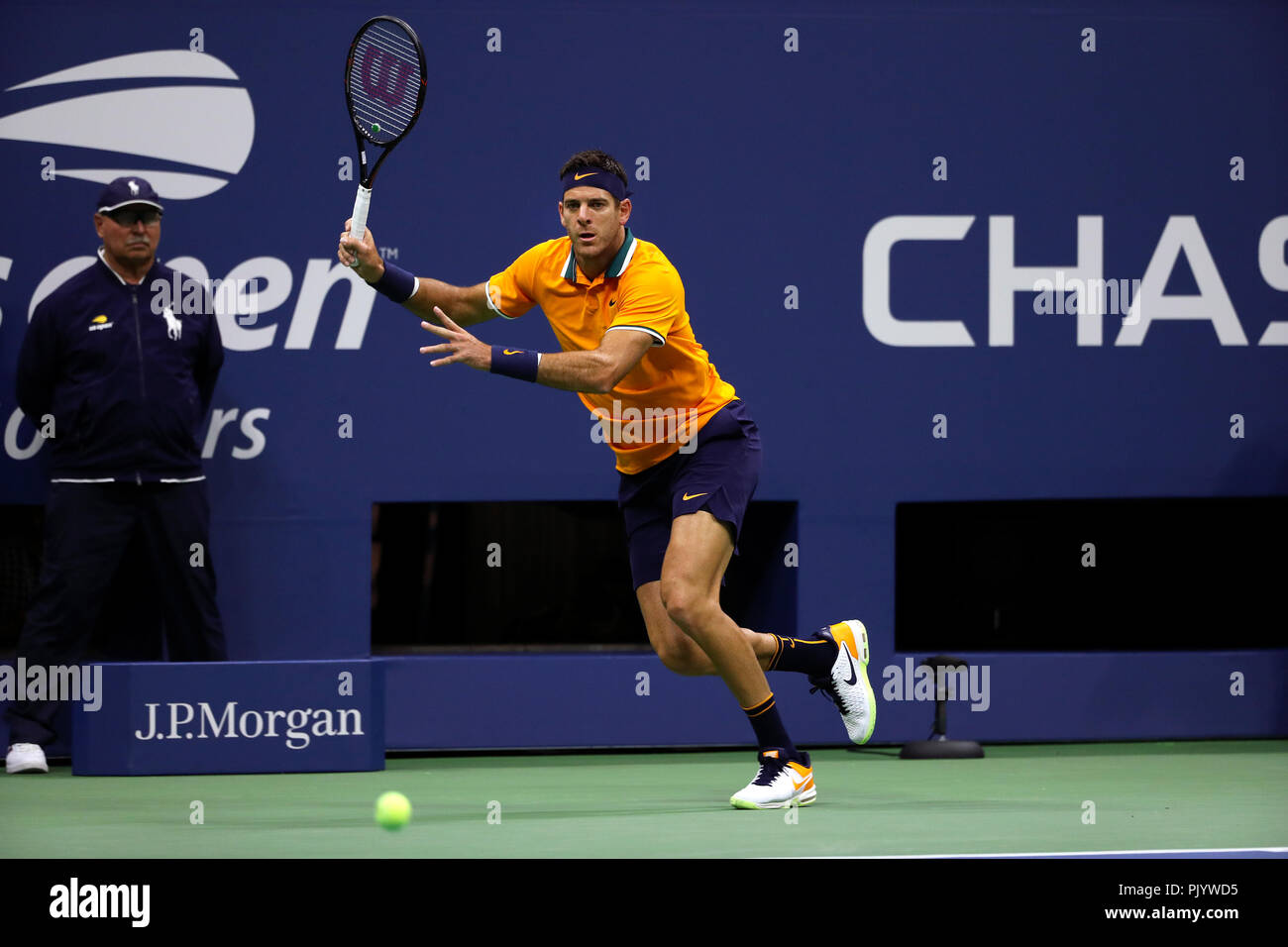 Flushing Meadows, New York, USA. September 9, 2018: US Open Tennis:   Juan Martin del Potro of Argentina serving  to Novak Djokovic of Serbia in the US Open men's final.   Djokovic won the match in straight sets to claim his third US Open title and 14th Grand Slam title overall. Credit: Adam Stoltman/Alamy Live News - Stock Image