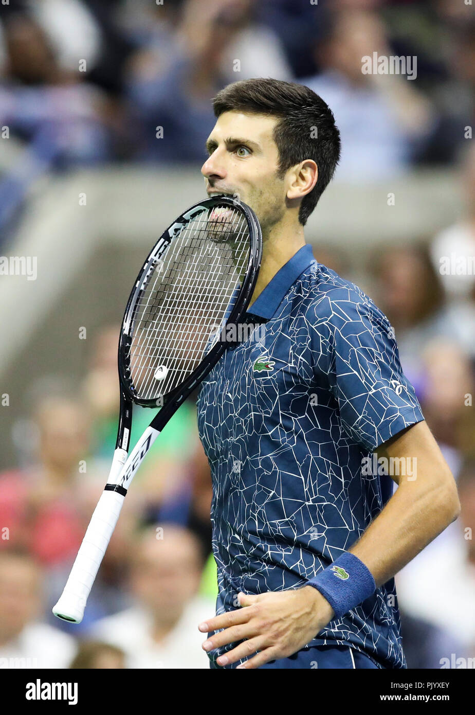 New York Usa 9th Sep 2018 Novak Djokovic Of Serbia Bites His Racket During The Men S Singles Final Match Against Juan Martin Del Potro Of Argentina At The 2018 Us Open Tennis