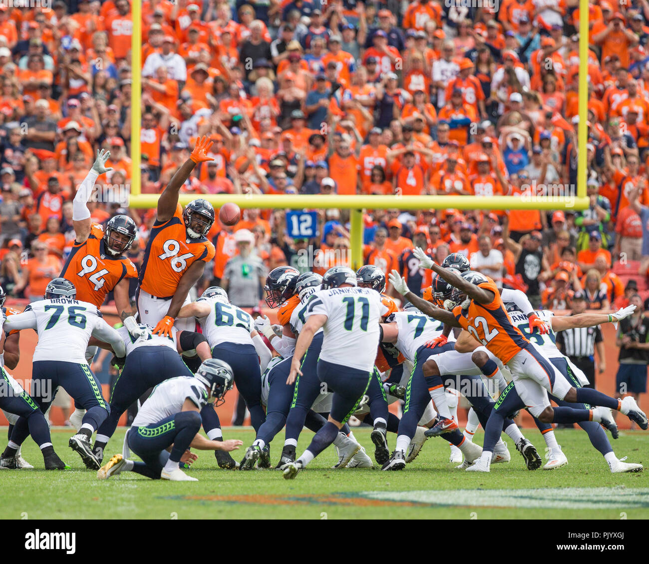 Denver, USA. September 09, 2018: Seattle Seahawks Kicker