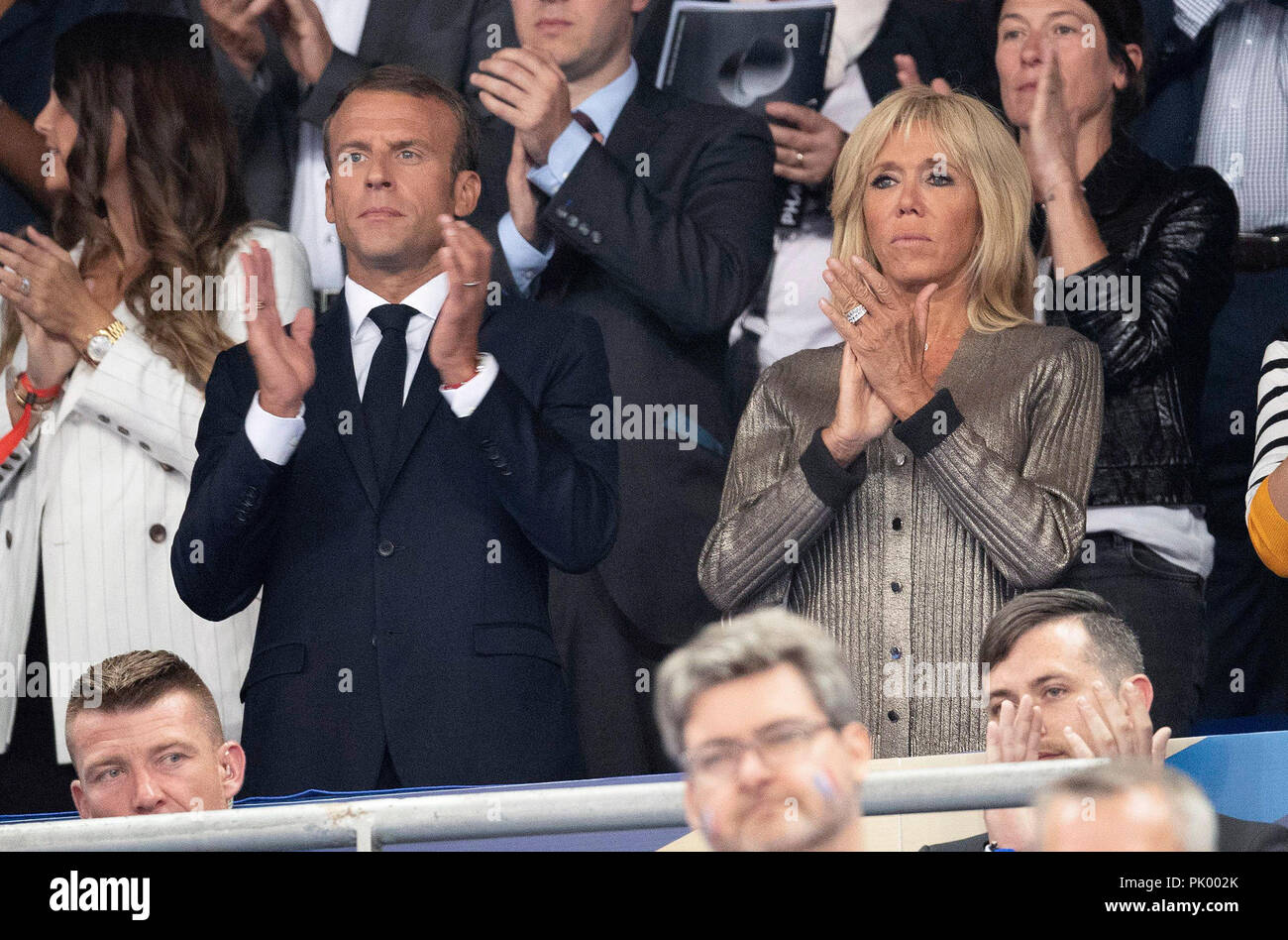 Saint Denis 10th Sep 2018 French President Emmanuel Macron L Together With His Wife Brigitte Macron