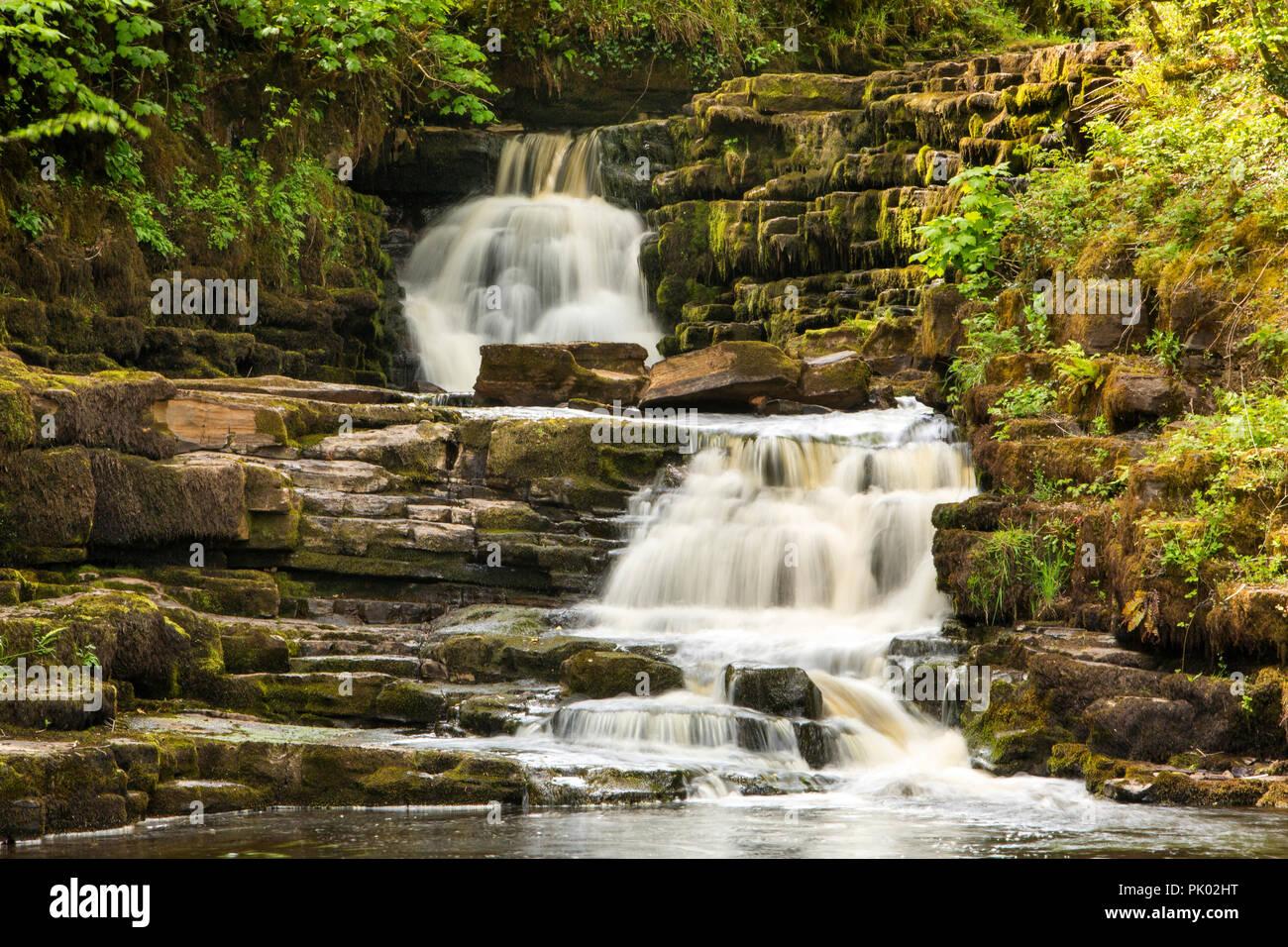 Ireland, Co Leitrim Ballinamore, Aughnasheelin, Corramartin, Poll an Eas waterfall on Yellow River - Stock Image