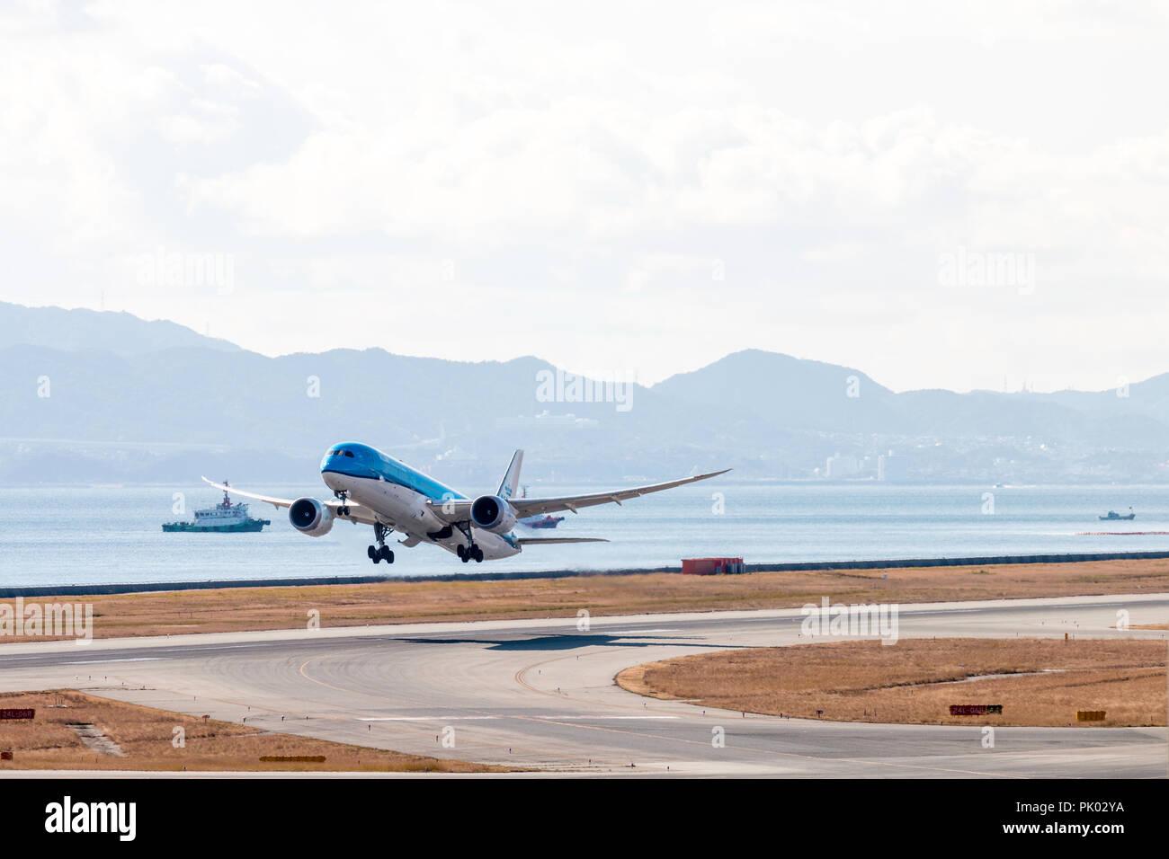 Japan, Osaka. Kansai International Airport. KIX, Boeing 787, PH-8HD, KLM, passenger jet taking off in good weather. Stock Photo