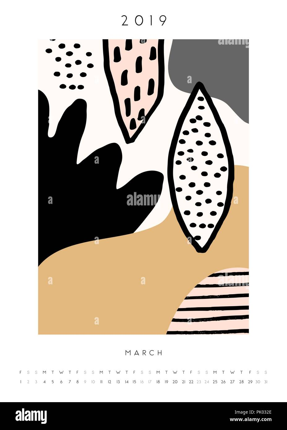 Printable A4 Size March 2019 Calendar Template Collage Style Design