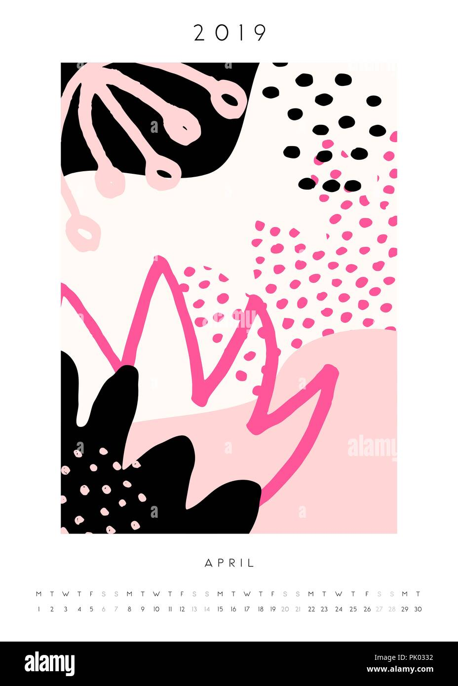 Printable A4 Size April 2019 Calendar Template Collage Style Design